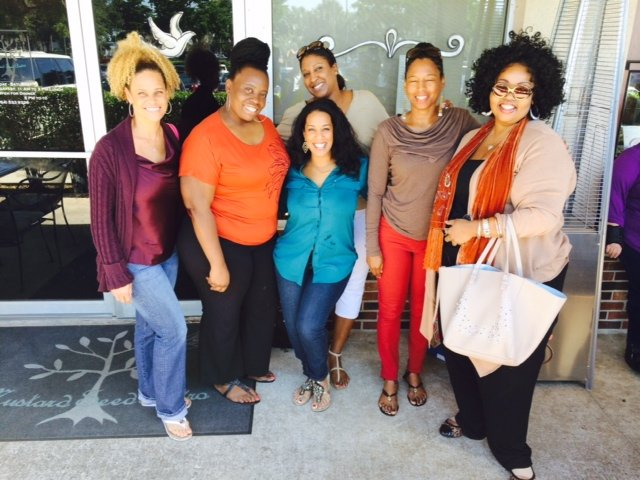 more often especially now that we've found a little slice of heaven to connect.   From L to R (Cherri PR-Blogger, Joan Thompson, Tiffany Howard, Jill Tracey, myself Vanessa James, and author Stephanie Stanford).